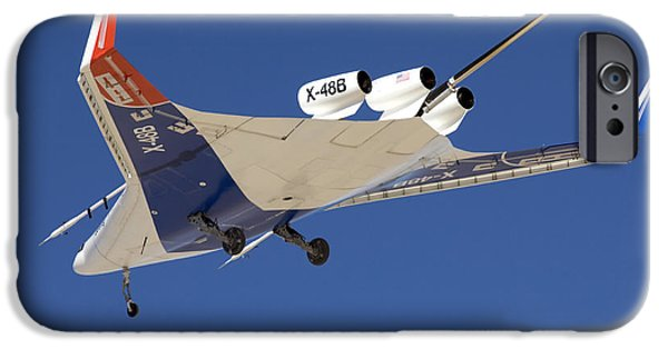 Aeronautics iPhone Cases - The Blended Wing Body X-48b Soars iPhone Case by Stocktrek Images