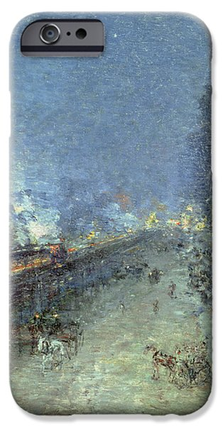 Gas Paintings iPhone Cases - The El iPhone Case by Childe Hassam