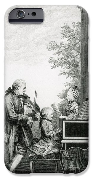 Operatic iPhone Cases - The Mozart Family On Tour, 1763 iPhone Case by Photo Researchers