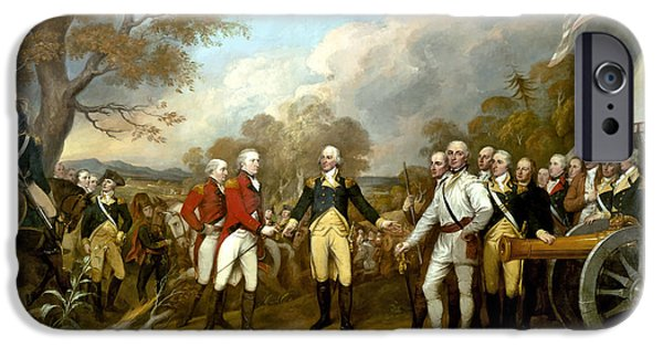 Warishellstore Paintings iPhone Cases - The Surrender of General Burgoyne iPhone Case by War Is Hell Store