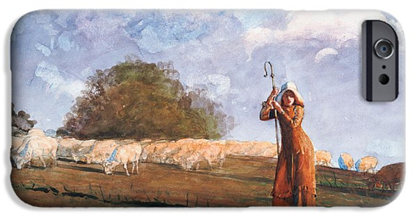 Farm Stand iPhone Cases - The Young Shepherdess iPhone Case by Winslow Homer