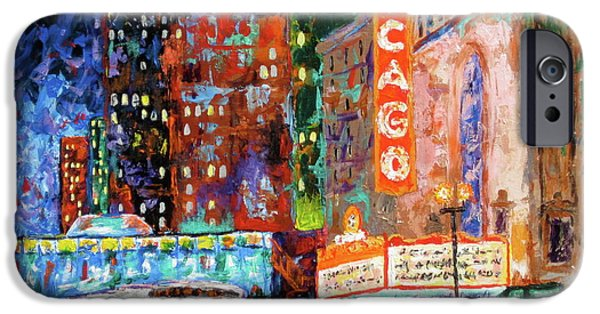 Chicago Paintings iPhone Cases - Theater Night iPhone Case by J Loren Reedy