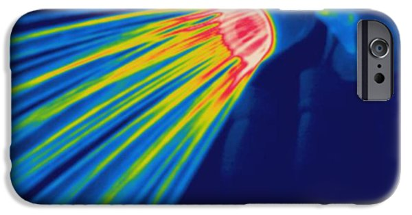 Shower Head iPhone Cases - Thermogram Of A Shower Head iPhone Case by Ted Kinsman
