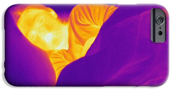 Electromagnetic Spectrum iPhone Cases - Thermogram Of A Sleeping Girl iPhone Case by Ted Kinsman