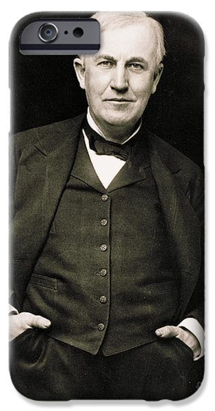Thomas Alva Edison iPhone Cases - Thomas Edison, American Inventor iPhone Case by Photo Researchers