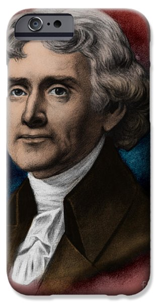 American Revolution iPhone Cases - Thomas Jefferson, 3rd American President iPhone Case by Photo Researchers