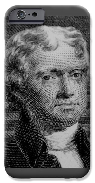 4th Of July iPhone Cases - THOMAS JEFFERSON in BLACK AND WHITE iPhone Case by Rob Hans