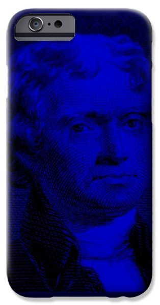 THOMAS JEFFERSON in BLUE iPhone Case by ROB HANS