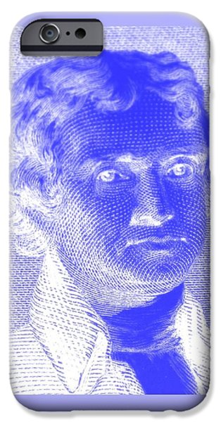 4th July Digital iPhone Cases - THOMAS JEFFERSON in NEGATIVE BLUE iPhone Case by Rob Hans