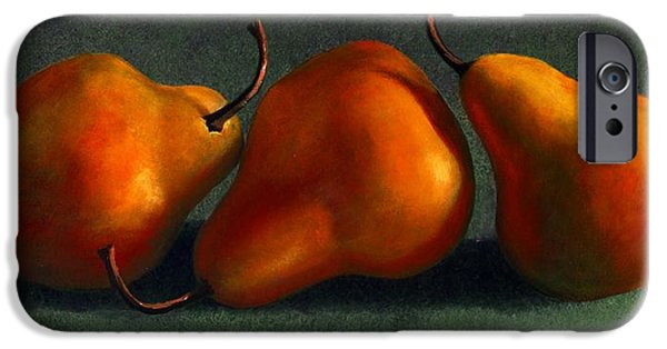 Food iPhone Cases - Three Golden Pears iPhone Case by Frank Wilson