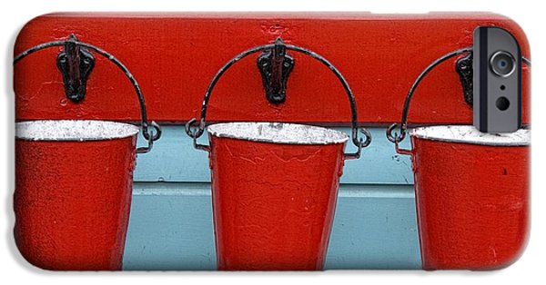 Design Pics - iPhone Cases - Three Red Buckets iPhone Case by John Short