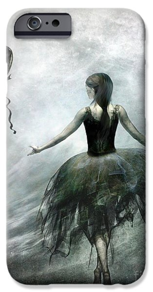 Ballet Digital Art iPhone Cases - Time to let Go iPhone Case by Photodream Art