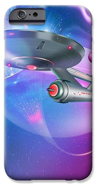 Time Travelling Spacecraft, Artwork iPhone Case by Detlev Van Ravenswaay