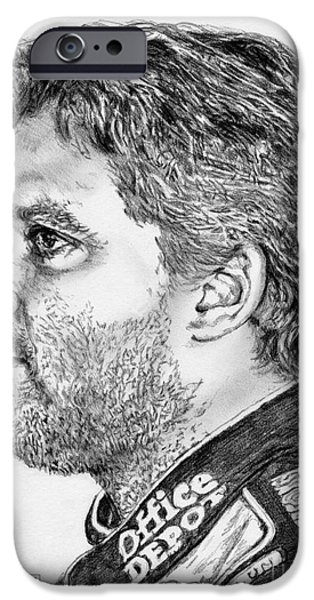 Owner Drawings iPhone Cases - Tony Stewart in 2011 iPhone Case by J McCombie