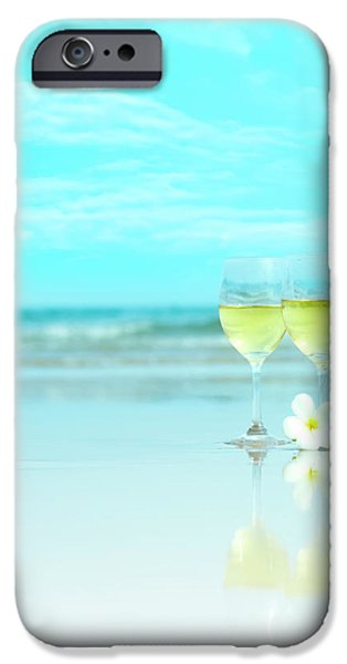 Two glasses of white wine iPhone Case by MotHaiBaPhoto Prints