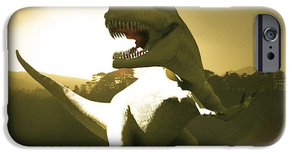 T Rex iPhone Cases - Tyrannosaurus Rex Dinosaur iPhone Case by Christian Darkin