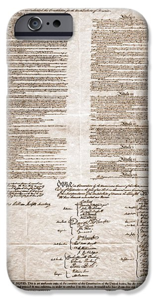 Constitution iPhone Cases - United States Constitution iPhone Case by Photo Researchers