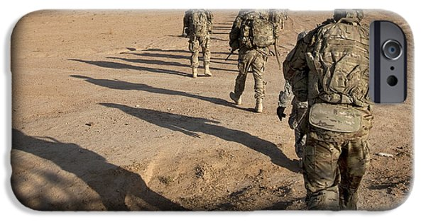 East Village iPhone Cases - U.s. Army Soldiers Walk iPhone Case by Stocktrek Images