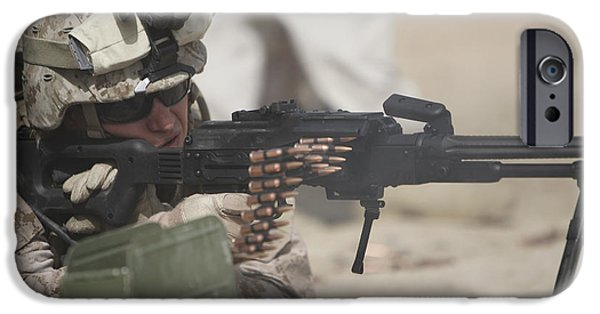 Fed iPhone Cases - U.s. Marine Firing A Pk 7.62mm Machine iPhone Case by Terry Moore
