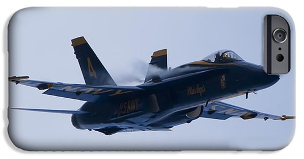 Hornet iPhone Cases - US Navy Blue Angels High Speed Turn iPhone Case by Dustin K Ryan