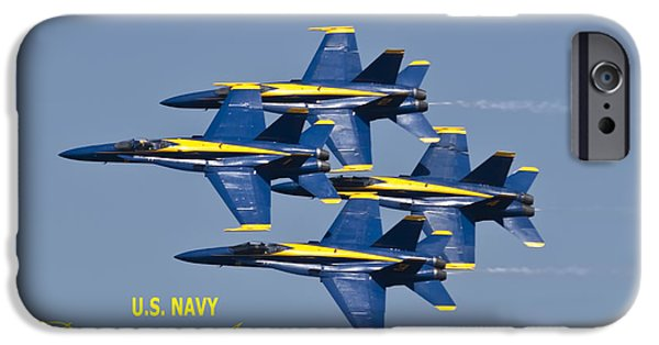 Blue Angel iPhone Cases - US Navy Blue Angels Poster iPhone Case by Dustin K Ryan