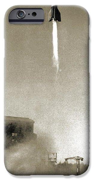 V2 Rocket iPhone Cases - V-2 Prototype Rocket Launch, 1942 iPhone Case by Detlev Van Ravenswaay