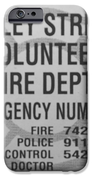 VALLEY STREAM FIRE DEPARTMENT in BLACK AND WHITE iPhone Case by ROB HANS
