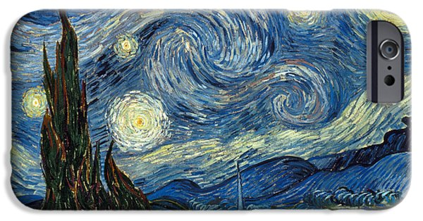 Aod iPhone Cases - Van Gogh Starry Night iPhone Case by Granger