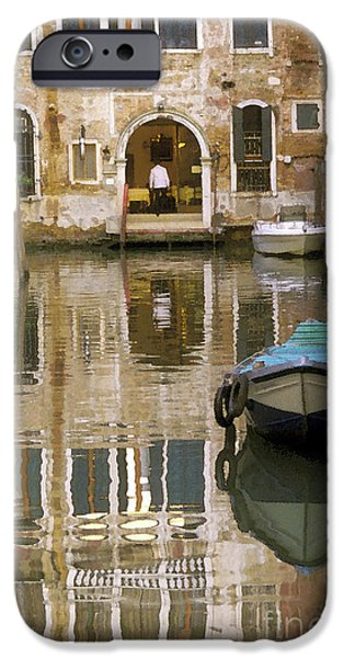 Venice Restaurant on a Canal  iPhone Case by Gordon Wood