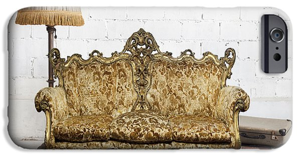 Antiques iPhone Cases - Victorian Sofa In White Room iPhone Case by Setsiri Silapasuwanchai