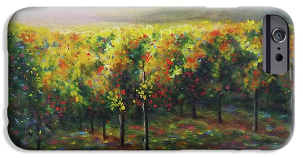 Vineyard Prints iPhone Cases - Vineyard Glow iPhone Case by Becky Chappell