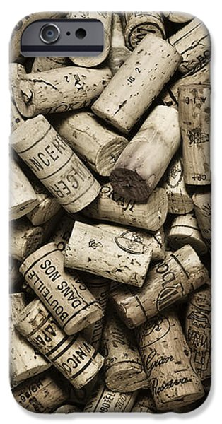 Monotone iPhone Cases - Vintage Wine Corks iPhone Case by Frank Tschakert