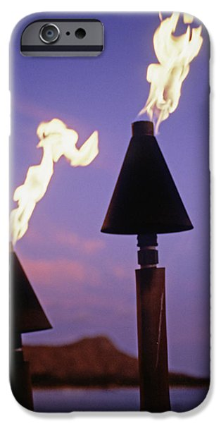 Waikiki, Tiki Torches iPhone Case by Carl Shaneff - Printscapes