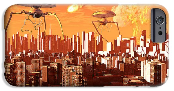 Hi-tech iPhone Cases - War Of The Worlds iPhone Case by Mark Stevenson