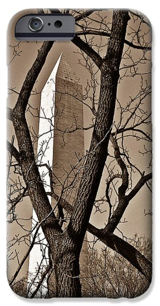 District Columbia Photographs iPhone Cases - Washington Monument in Sepia iPhone Case by Douglas Barnett