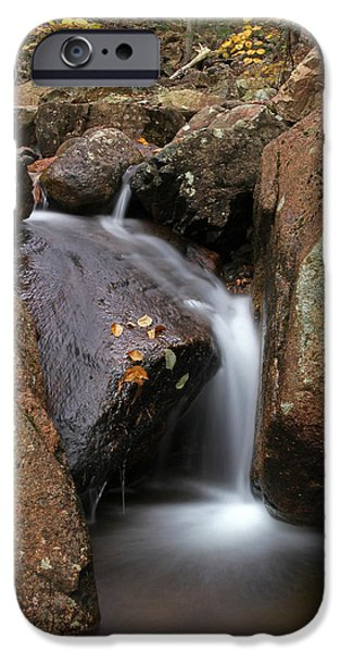 Maine Roads iPhone Cases - Waterfall In Acadia National Park iPhone Case by Juergen Roth