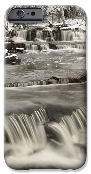 Waterfalls With Fresh Snow Thunder Bay iPhone Case by Susan Dykstra