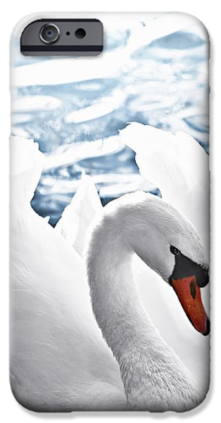 Innocence Photographs iPhone Cases - White swan on water iPhone Case by Elena Elisseeva