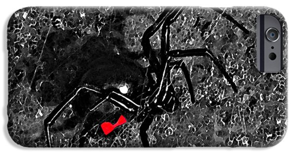 Black Spider iPhone Cases - Wicked Widow - Selective Color iPhone Case by Al Powell Photography USA