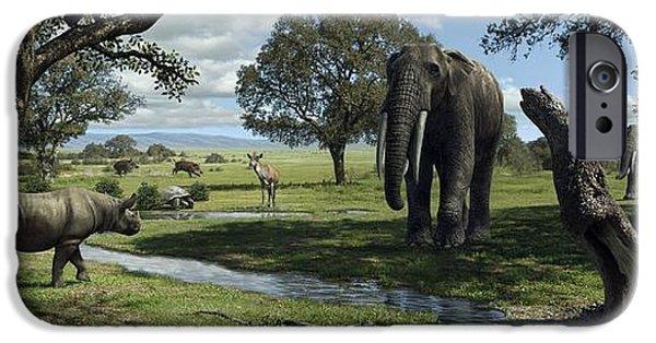 Elephants iPhone Cases - Wildlife Of The Miocene Era, Artwork iPhone Case by Mauricio Anton
