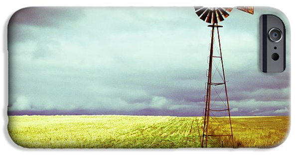 Storm Photographs iPhone Cases - Windmill Against Autumn Sky iPhone Case by Gordon Wood