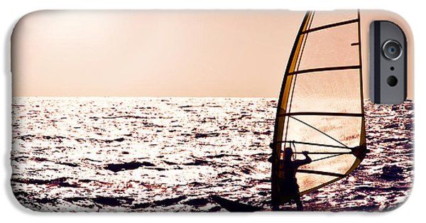 Windsurfer iPhone Cases - Windsurfer silhouette over sea sunset iPhone Case by Anna Omelchenko