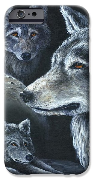 Dog Close-up Drawings iPhone Cases - Wolf Trio iPhone Case by Sharon Molinaro