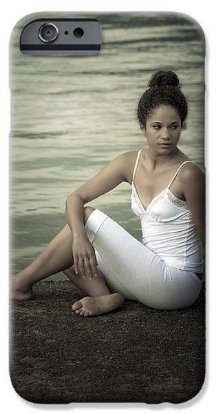 woman at a lake iPhone Case by Joana Kruse