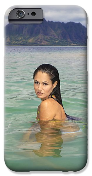 Bathing iPhone Cases - Woman at Kaneohe Sandbar iPhone Case by Tomas del Amo - Printscapes