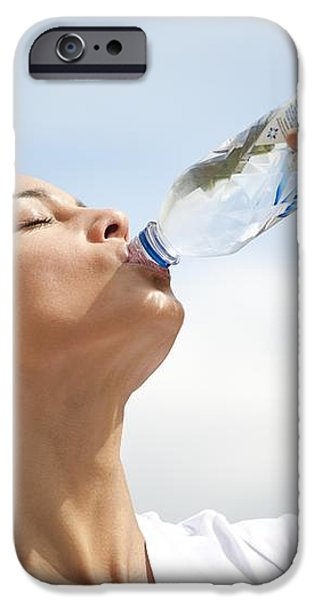Woman Drinking Bottled Water iPhone Case by