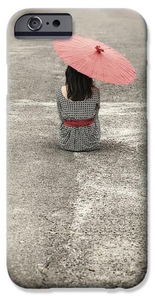 Red Umbrella iPhone Cases - Woman On The Street iPhone Case by Joana Kruse