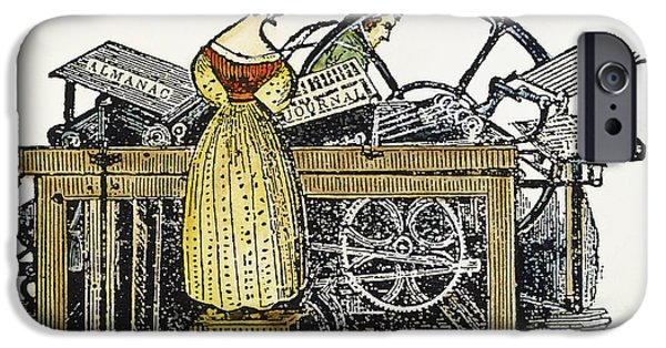 1850s iPhone Cases - WOMAN PRINTER, c1850 iPhone Case by Granger