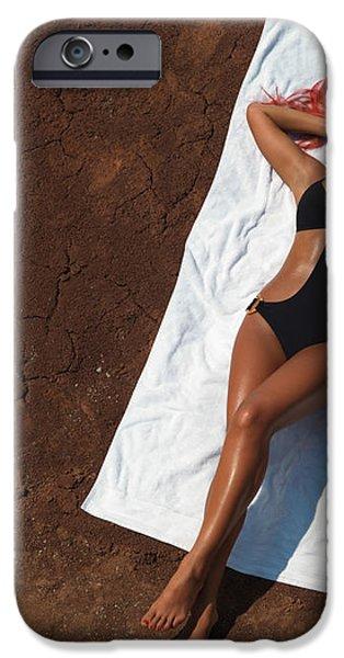 Woman Sunbathing iPhone Case by Oleksiy Maksymenko