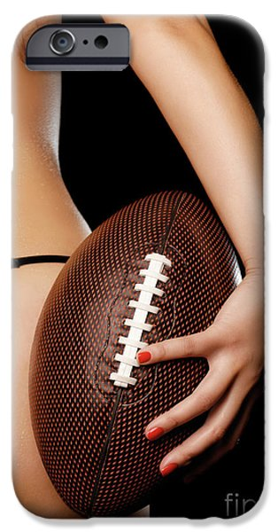Woman with a Football iPhone Case by Oleksiy Maksymenko